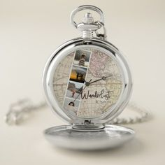 Photo Collage of Travel Memories. Wanderlust. Pocket Watch - initial gift idea style unique special diy