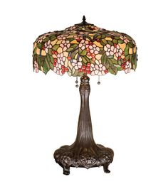 "Meyda 15404 31""H Tiffany Style Stained Glass Cherry Blossom Table Lamp 20"" Shade #Meyda #StainedGlass"
