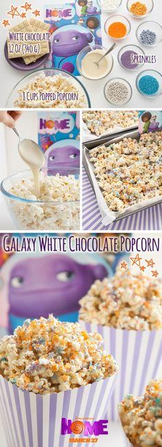 Make fun white chocolate popcorn to view the movie Home. Sponsored by DreamWorks.