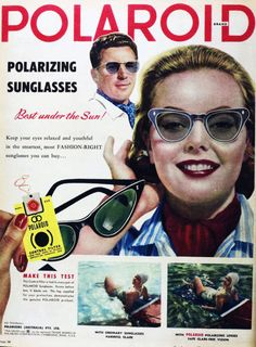 """""""I think it's too bright out."""" """"Well, I think it's too dark out."""" """"Oh these sunglasses are polarizing us."""" (Funny bad retro sunglasses ads)"""