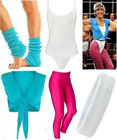 party outfits Olivia Newton John Physical Costume Accessories at 80s Theme Party Outfits, 80s Party Costumes, 80s Halloween Costumes, 80s Costume, Fancy Costumes, Olivia Newton John Physical, Stage Outfit, 80s Outfit, Polyvore Outfits