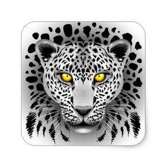 SOLD! #White #Leopard with #Yellow #Eyes Square #Stickers | by #BluedarkArt - #Zazzle    http://www.zazzle.com/white_leopard_with_yellow_eyes_square_stickers-217258106152831194