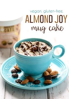 Almond Joy Mug Cake [ gluten-free, vegan ] This oatmeal Almond Joy Mug Cake made with almond butter and gluten-free oats can be a delicious breakfast or a healthier dessert, you decide! Refined sugar-free and vegan-friendly. Gluten Free Mug Cake, Vegan Mug Cakes, Mug Cake Healthy, Cake Vegan, Gluten Free Oats, Gluten Free Desserts, Vegan Desserts, Dairy Free, Mug Recipes