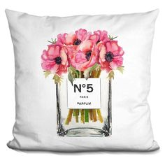 Lilipi Tall No5 Vase Red Poppy Decorative Accent Throw Pillow, Multi (Velvet)