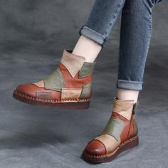 Are you still looking for the Most comfortable ankle boots? Babakud's online store can lead you to more Leather Retro Stitching Colorful Ankle Boots. Shoe Boots, Shoes Heels, Pumps, Women's Boots, Leather Wedges, Leather Sandals, Comfortable Ankle Boots, Retro Shoes, Buckle Boots