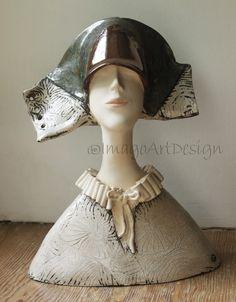"Ceramic Sculpture , Clay Sculpture, Fine Art Ceramic, A Woman""s Bust , Art Object , Unique  Sculpture ,  Popiersie Kobiece , Unikatowa Rzeźba Ceramiczna , by ImagoArtDesign"