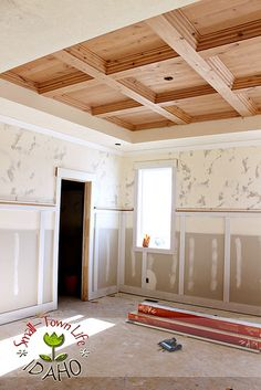 DIY Master Bedroom Wood Coffered Ceiling