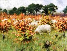 Grazing Sheep ~ George Hitchcock ~ (American 1850-1913)