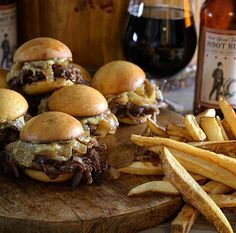 Beer-Braised Short Rib Sliders with White Cheddar, Caramelized Onions and Black Pepper Aioli