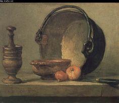 Jean Baptiste Simeon Chardin Bowl two onion copper clepsydras and knife