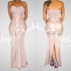 "Maxi season is nearly upon us and this sexy fitted ""Maxie Maxi (Taupe) is available also in white and olive in our boutique collection at www.angelbrinks.com"