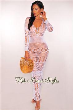 2e1089fc34a White Crochet Cover-Up Long Sleeves Maxi Dress Long Sleeve Maxi