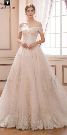 8c23f3222a Romantic Tulle Off-the-shoulder Neckline A-line Wedding Dress With