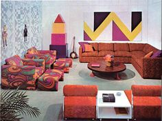 I WANT THOSE PRINTED CHAIRS!!!!!! Psychedelic 60s interior design.