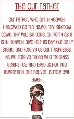 Our Father prayer card for kids (half sheet size)