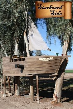 Pirate Ship Outdoor Playhouse Let your little smugglers spend a fun afternoon with this Pirate Ship Outdoor Playhouse, where your little bucaneers will be able to enjoy a ship that evokes the Blackbeard-Queen Anne's Revenge. Awesome wooden playhouse for y Outside Playhouse, Build A Playhouse, Playhouse Outdoor, Wooden Playhouse, Backyard Fort, Backyard Playground, Kids Outdoor Play, Outdoor Fun, Cubby Houses