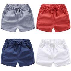 Toddler Boy Fashion, Cute Kids Fashion, Blue And White Shorts, Kids Clothes Boys, Boys Shirts, Cotton Shorts, Baby Wearing, Baby Boy Outfits, Fashion Pants