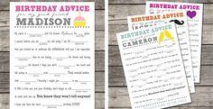 Personalized Birthday Advice - Mad Lib Cards! Digital File! | Jane