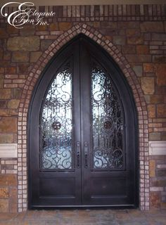 Custom wrought iron front door gothic arch. & DBL-G114ATG-2 Gothic Arch Top Glass Panel Double Door | Final ... Pezcame.Com
