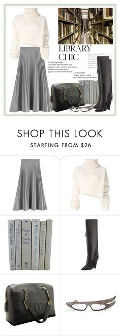"""""""Library look"""" by krista-zou on Polyvore featuring Ann Demeulemeester, Yves Saint Laurent, Chanel, Gucci, contest, polyvorefashion, polyvorecontests and librarychic"""