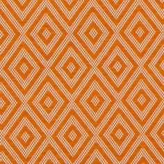 Lalla Outdoor Fabric A versatile woven fabric with diamond motifs shown in terracotta. This pattern is often found in the ground of flat woven textiles, a device to help anchor the more abstract shapes in traditional carpets. Here it has been used on its own - the crispness of the shapes have a modern feel whilst the softness of the Melanie's yarns keep it from looking stark.