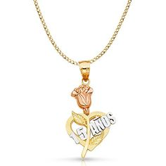 9c3ef9eb4744 14K Tri Color Gold 15 Years Quinceanera Years Heart Charm Pendant with  2.3mm Hollow Cuban Chain Necklace - 22