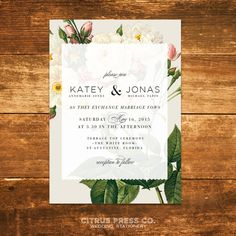 Botanical Rose Wedding Invitation Rustic Vintage by CitrusPressCo
