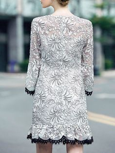 White Embroidery Floral Organza Elegant Mini Dress