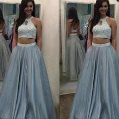 2 Pieces Open Back Silver Beaded Elegant Cheap Long Prom Dresses, BG51018