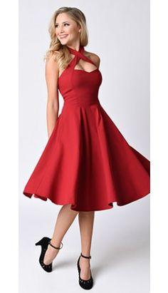 Unique Vintage 1950s Style Red Rita Halter Flare Dress