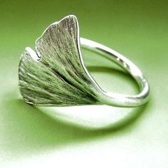 Ginkgo Leaf Ring Sterling Silver by esdesigns on Etsy >> Her work is beautiful!