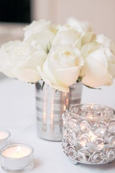 New Year's Eve or Wedding ideas!  Use wedding paper around soup cans, use a glass dish with kisses.