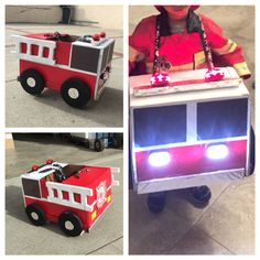 Halloween success! Use spray paint for the box and accessories. Bicycle lights are lightweight and won't weigh the front down. I also glued cardboard blocks behind the tires so the firetruck can be supported when not in use and the tires can spin. It's in the living room now as a toy!