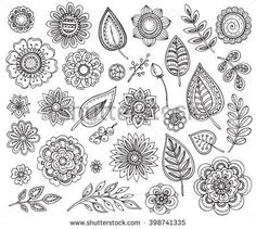 Big vector collection of hand drawn black and white ornate fancy flowers and leaves. Doodle floral set, design elements for coloring books