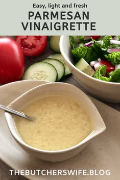 Parmesan Vinaigrette is the perfect light and fresh dressing. This vinaigrette is perfect for a fresh cut salad or to dress a bowl of pasta. Vinaigrette Dressing, Salad Dressing Recipes, Salad Dressings, Homemade Spices, Homemade Seasonings, Soup Recipes, Salad Recipes, Cooking Recipes, Light Pasta