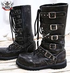 Visual Kei/Gothic/CYBER 5-strap BOOT 9/9.5 ASH BLACK 41