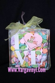 Uppercase Living - Hearts and Acrylic Block - would make a cute valentine's day gift idea - vinyl could be created at erint78.uppercaseliving.net #uppercaseliving