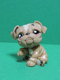 #607 / 719 Chien Dog bulldog brown & pink eyes LPS Littlest Pet Shop Figurine