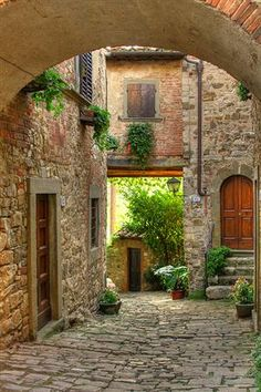 Tuscany, Italy should be on everyone's Bucket List!  This particular village is identified as Montefioralle, overlooking Greve in Chianti.  Just do a search on Montefioralle and you'll be able to get more information for your travel plans. ♥