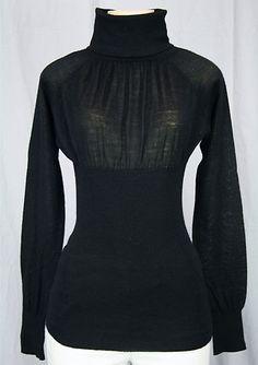 Dex Turtleneck Sweater Sz s Black Sheer Ruched Top Empire Waist Wool Blend Love | eBay