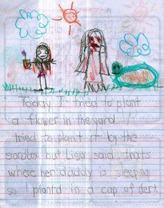 Oggi ho provato a piantare un fiore in giardino. Ho provato a piantarlo nel recinto della sabbia ma Lisa mi ha detto che lì riposa suo padre così l'ho messo in una tazza. Creepy Kids Drawings, Drawing For Kids, Art For Kids, Backpack Drawing, Creepy Facts, Lisa, Horror, Halloween Ideas, Art For Toddlers