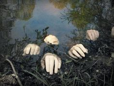 Creepy decoration idea for a pond.