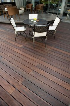 Fused bamboo decking from dassoXTR at the Jiujiantang Club Luxury Home Decor, Luxury Homes, Bamboo Decking, Deck Colors, Outdoor Tables, Outdoor Decor, Construction Materials, Engineered Wood, Plank