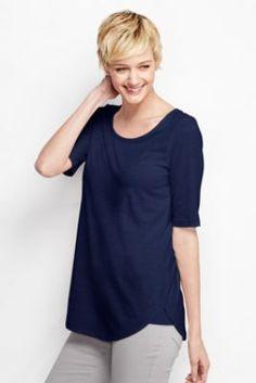 Women's Elbow Sleeve Slub Jersey Scoopneck Tunic Top from Lands' End