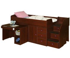New 22-721 and 22-722 twin and full size Berg Sierra captains bed with hideaway pull out desk and stairs