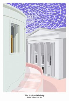 The National Gallery, William Wilkins , (1832/38)  Giclee print on Decor Smooth Art 210gsm.  43cm x 63cm
