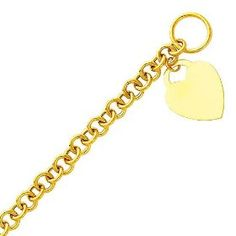 """14K Yellow Gold Heart Fashion Link Bracelet with Lobster Claw Clasp - 7.5"""" Inches.  List Price: $1,410.00  Savings: $771.00 (55%)"""