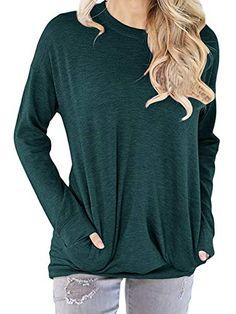 3479f8f15d Dutebare Women Long Sleeve Crewneck Sweatshirt Pocket Pul... https   www