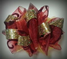Red and Gold Hair Bow  ♥ Like us on www.Facebook.com/NanieBows