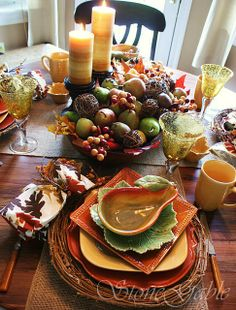 Fall harvest tablescape.
